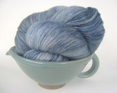 RAIN Hand Dyed Yarn (Eco Friendly) Merino and Silk Lace Weight Gray Blue - spinningmulefibers