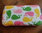 Travel Baby Wipe Case- Whales in Pink- Personalization Available