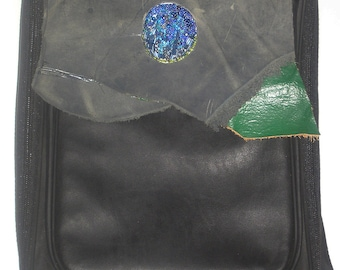 Computer backpack with blue mountain landscape hand beaded on leather flap