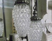 30% Off Sale Hollywood Regency Double Swag Glass Lamp Shabby French Chic Chandelier Light