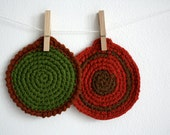vintage crocheted potholders - red and green