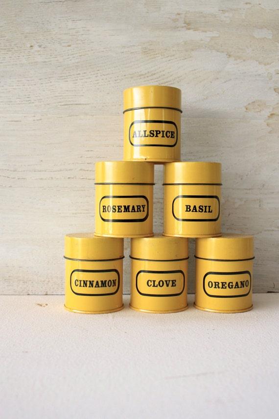 set of six yellow spices tin boxes