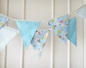 SALE - Baby Bunting, Fabric Banner, Pennants, Sheep, Bunny, Polka Dots, Baby Blue Shade - 3 yards