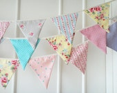 New Shabby Chic Bunting, Fabric Banners, Wedding Bunting, Floral, Roses, Polka Dots, Pastel - 12 Feet(Made to order)