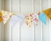 Spring Time Bunting, Fabric Banners, Wedding Bunting, Floral, Rose, Polka Dots, Blue and Yellow Shade - 3 yards