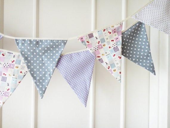 Purple and Gray Bunting, Baby Bunting, Wedding Banners, Polka Dots - 3 yards