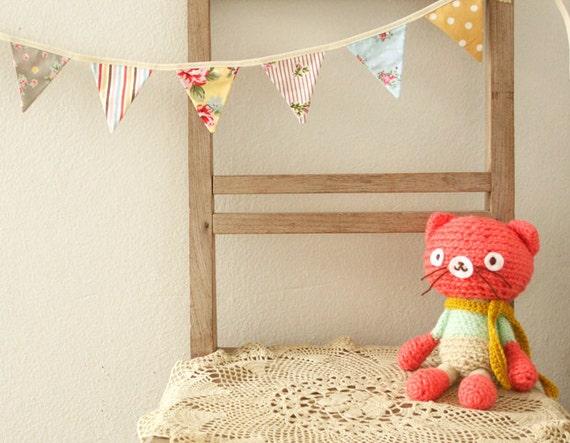 Mini Bunting, Garland, Photo Prop, Floral, Roses, Stripes, Polka Dots - 1.5 yards (Made to Order)