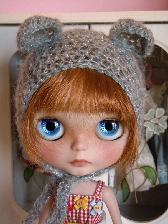 Crochet Hat Pattern For Blythe : Crochet bear hat for Blythe doll