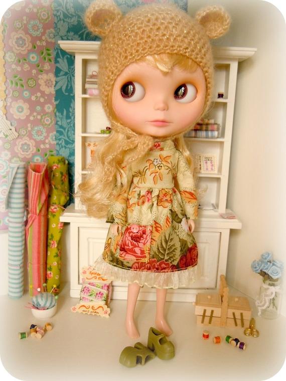 Crochet bear hat  for Blythe doll