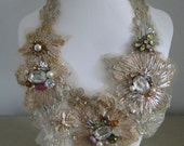 Lace Bib Necklace, embellished with vintage jewels,  handmade by Lucy Wayne