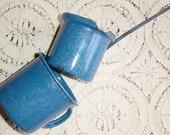 Vintage Graniteware Speckleware Spatterware Enamelware Blue Cup and Warming Pot