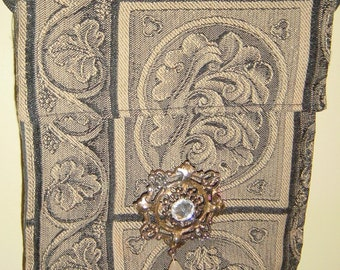 Vintage Tapestry Purse Pouch with Vintage Brooch