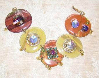 Vintage Enamelled Crystal Bracelet Boho Haute Hippie Chic Statement Bracelet