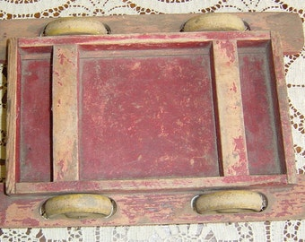 Rustic Primitive Wooden Toy Cart and Box 1930s 1940s