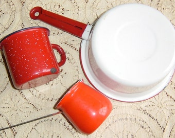Vintage Red and White Enamelware Cup Pot Warmer Set