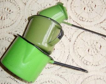 Vintage 1930s 1940s Green Enamelware Set Cup, Pot, Warmer