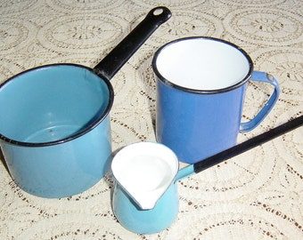 Vintage Blue Enamelware Cup and Pan with Coffee Warmer Set