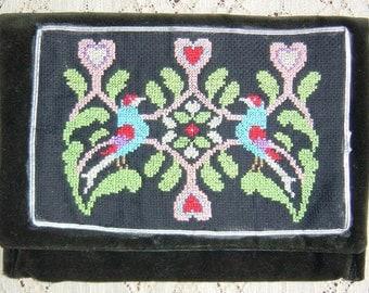 Vintage Folk Embroidered Velvet Clutch, Bohemian Lingerie Jewellery Makeup Bag
