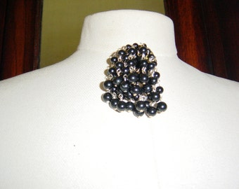 Vintage 1950s Black Pearl Brooch Waterfall Cascade Pin Mid Century Mad Men Style