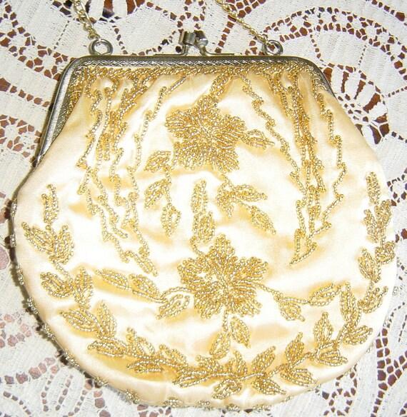 Vintage Purse Gold Beaded Yellow Satin Mid Century Style