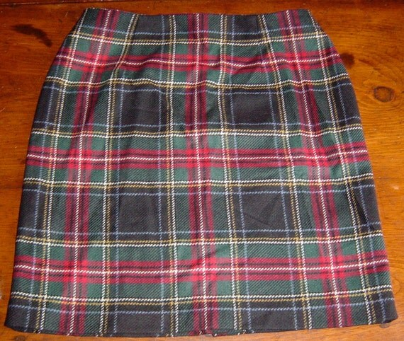 Vintage Plaid Tartan Skirt Preppy School Girl Style