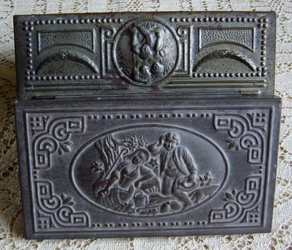 Antique Tobacco Cigar Box Pastoral Scene Metal Wood