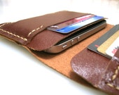 Leather iphone 2G/3G/4G  Wallet Case-Handmade - Hand Stitched -Rustic Brown
