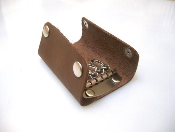 Handmade Leather 6 x Key Pouch /Case   -Key Bag - Key Case   Brown