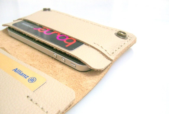 Leather iPhone Wallet Case 2G/3G/4G  - Italian Leather -100% Handmade & Hand Stitched - Beige