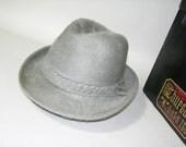 vintage 1960's Men's fedora hat. Shaggy fur felt in Silver Gray by Churchill LTD for F.R. Tripler. 7 1/8 plus