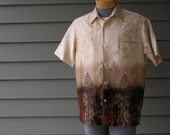 vintage 60's - 70's Men's Tori Richard Hawaiian shirt. Funky trees. Very unusual-possibly NEW & never worn. Medium - Large