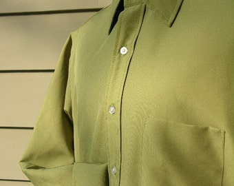 vintage late 1960's - early 1970's -Penneys- Men's long sleeve dress shirt. Poly Avocado with French cuffs. Medium - Large 16 x 32