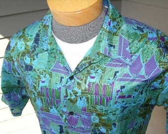 vintage Men's short sleeve shirt. Thai Silk. 'New Old Stock'. Fantastic all-over antique style Asian print.  Large