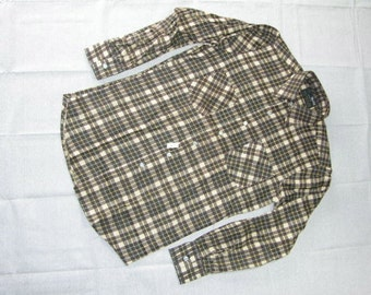 vintage 1960's -Van Cort- Men's Long sleeve Flannel shirt.  'New Old Stock' w/ tags. Brown Plaid - All Cotton. Small