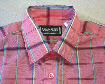 vintage -Van Cort- Men's long sleeve sport shirt. 'New Old Stock with tag' . Red chambray with multicolor grid.  Medium