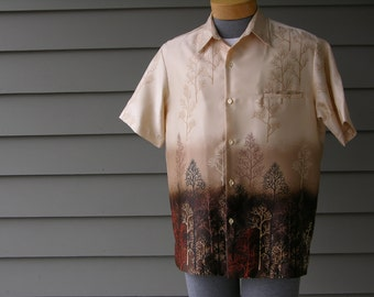 vintage 60's - 70's Men's Tori Richard Hawaiian shirt. Funky trees. Very unusual-possibly NEW & never worn. Medium - Large
