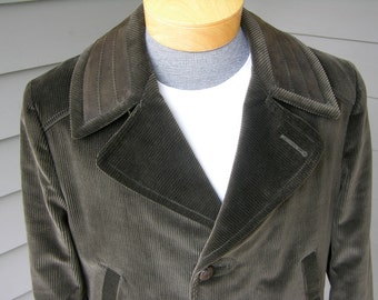 vintage 1960's Men's Corduroy Car coat. 'New Old Stock'. Matching suede trim. Half belt back.  Size 40 plus