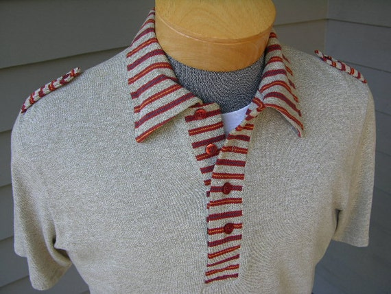 vintage 1970's Men's short sleeve Knit shirt. Sage with striped collar and epaulets. Medium