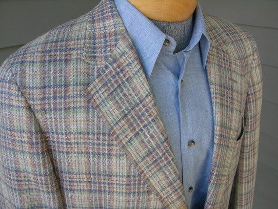 vintage 1980's Men's Sport coat by Corbin for Spring or Summer. Silk blend in madras style plaid. Size 42