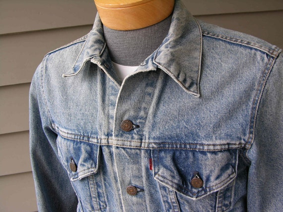 vintage 1970's -1980's Levi's 'Red tab' 4 pocket denim jacket.  Worn to perfection. US made. Size 40 Long