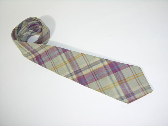 vintage -Resilio- neck tie. Spring pastel India Madras. NEVER out of style...Perfect width