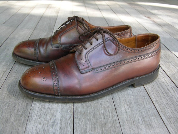 vintage J.M. Weston Men's Long Wing - Cap Toe Brogues. Bench made. Wonderful patina. A very serious shoe. US Size 11