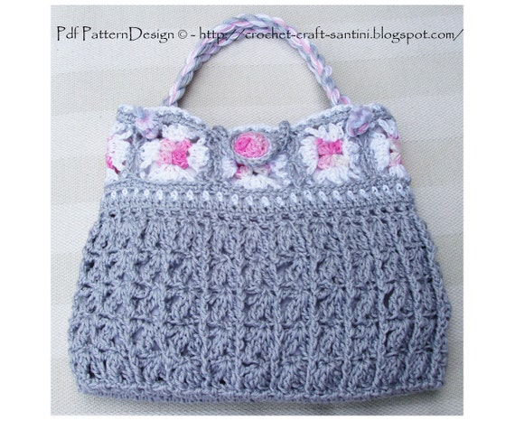 Granny Square Grey Bag - Crochet Pattern - Instant Download