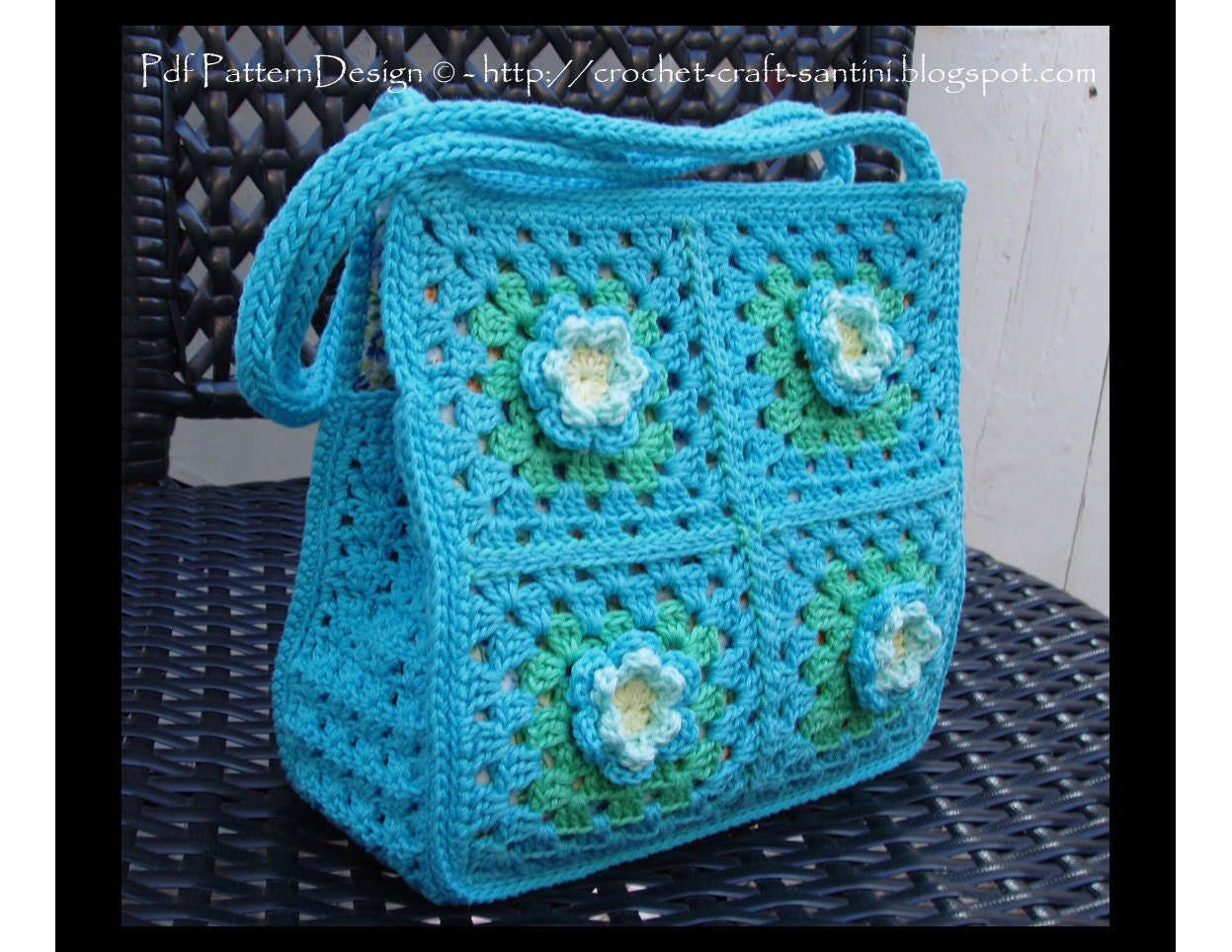 Granny Square Bag-Purse Crochet Pattern with by PdfPatternDesign