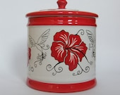 Cookie Barrel Handpinted with Hibiscus design Large