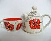 Tea For One with Hibiscus Design
