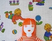 Original rare childrens vintage 70s juvenile nursery wallpaper art girl boy flower