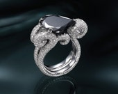 Oceania - Pear Shaped Black Diamond Ring