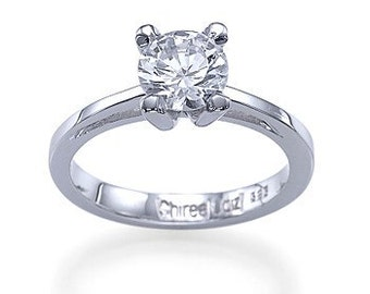 Engagement Ring With 0.50ct D-E/SI1-SI2 100% Natural Diamond