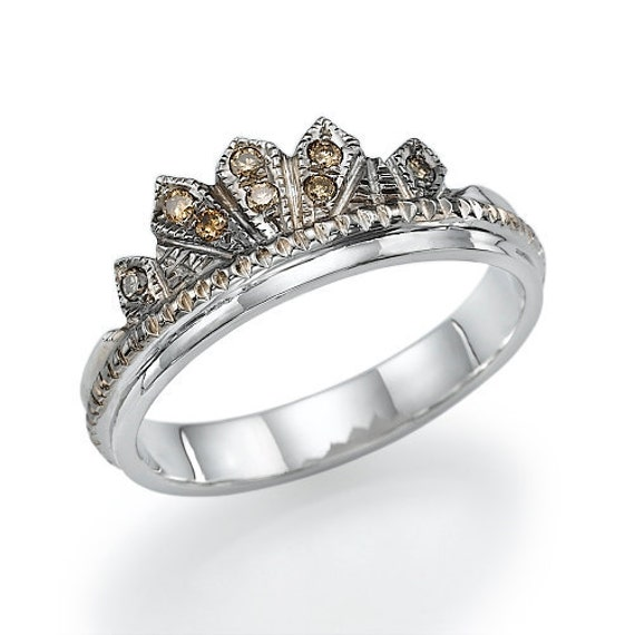 Items similar to Antique Style Diamond Wedding Ring in 14k White Gold on Etsy